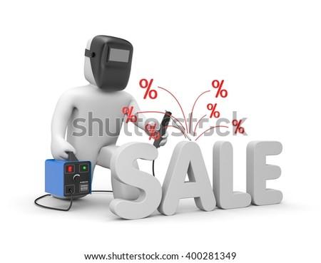 Welder and word SALE. Discount metaphor. 3d illustration - stock photo