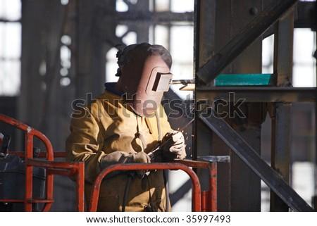 Welder at work - stock photo