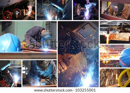 Welder at work in metal industry, split screen - stock photo