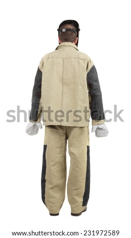 Welder back view. Isolated on a white background.