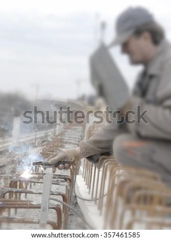 welder blurred - stock photo