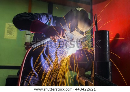 welder hard work at workshop