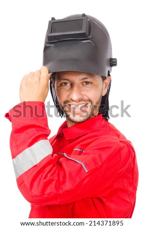 Welder in red overalls isolated on white - stock photo