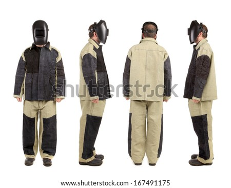 Welder in workwear suit. Front. Back. Side
