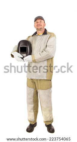 Welder in workwear suit isolated on a white background closeup
