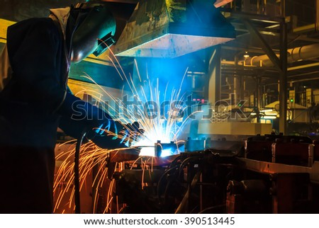 welder Industrial automotive part in factory