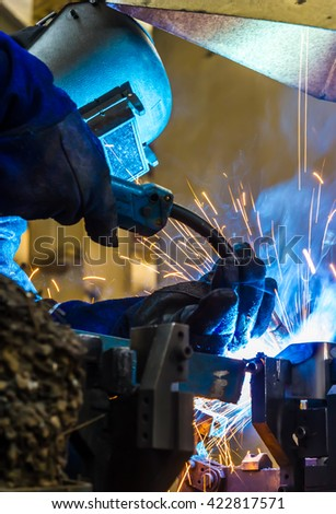 welder Industrial movement weld automotive part in factory