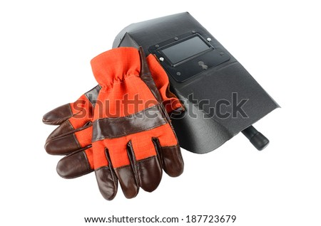 Welder's mask and gloves isolated on white background