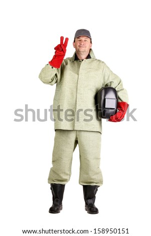 Welder shows peace sign. Isolated on a white background.