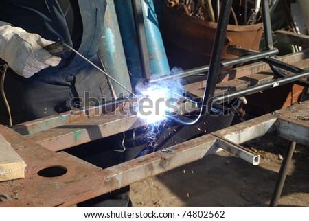 Welder working - stock photo