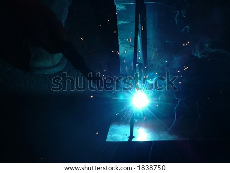 welding a frame - stock photo