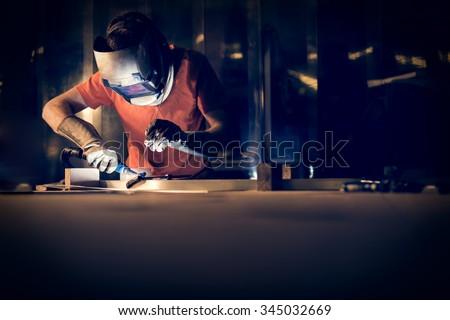 Welding aluminum using tig welder - stock photo