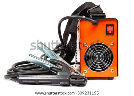 Welding machine with wires isolated on white background. - stock photo