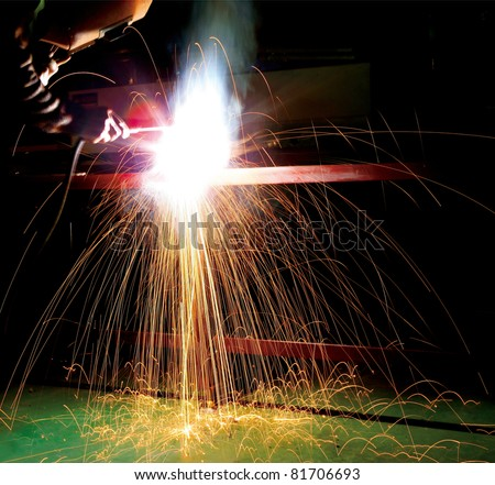 welding metal and sparks.motion blur - stock photo