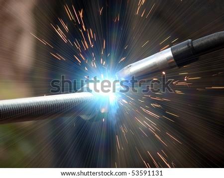 Welding  metal  smoke  sparks - stock photo