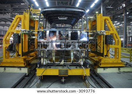 welding operator is working in mashine on factory 5 - stock photo