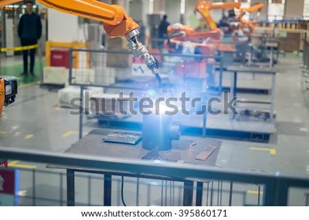 welding robot for steel industrial - stock photo