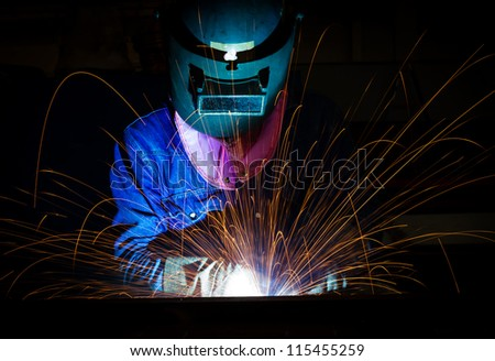 Welding steel structure - stock photo