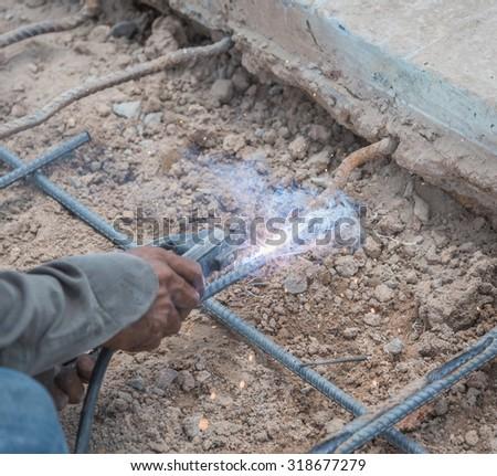 Welding steel structure - stock photo