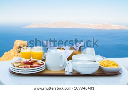 Well balanced breakfast for two by the Sea - stock photo