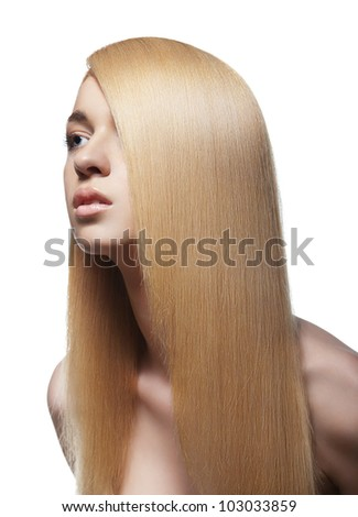 Well-being & spa. Sensual woman model with shiny straight long blond hair. Health, beauty, wellness, haircare, cosmetics and make-up