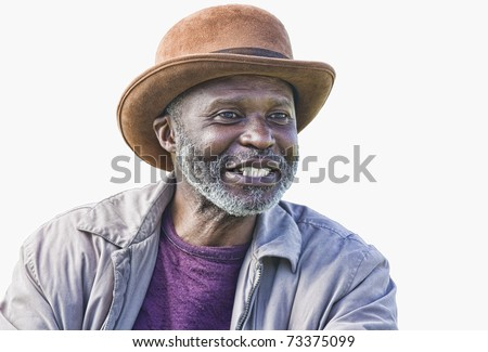 Well dressed afro-american homeless man with hat isolated on white - stock photo