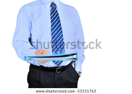 Well-dressed businessman is giving a folder
