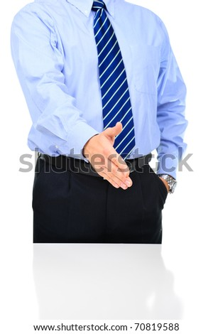 Well-dressed businessman is giving a handshake isolated over white
