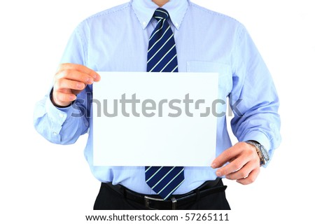 Well-dressed businessman is holding an announcement isolated over white