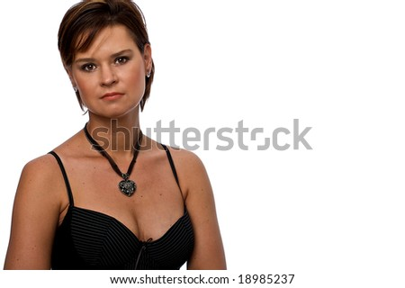 Well Dressed Caucasion Female Isolated on a White Background with Copyspace - stock photo