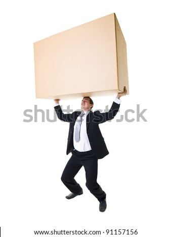 Well dressed man carrying a heavy cardboard Box isolated on white background
