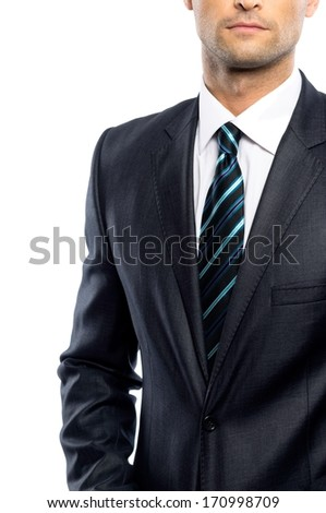 Well-dressed man in black suit and tie  - stock photo