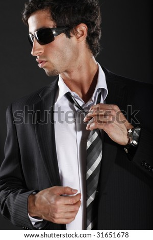 Well Dressed Man in Suit and Tie - stock photo