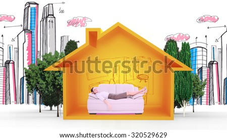 Well dressed young woman sleeping on sofa against house shape with living room sketch