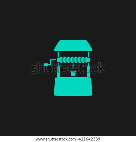 well Flat icon on black background. Simple symbol - stock photo