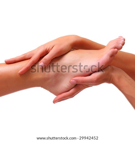 Well-groomed bared a foot of female feet , isolated on a white background, please see some of my other parts of a body images - stock photo