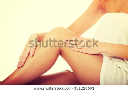 Well groomed female legs after depilation. - stock photo