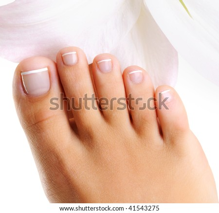 well-groomed toys on a single female foot with french pedicure on a  white background - stock photo