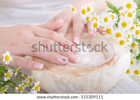 Well-kept fingernails - perfect nails with manicure - stock photo