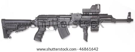 Well known contemporary AK-47 kalashnikov assault rifle. - stock photo