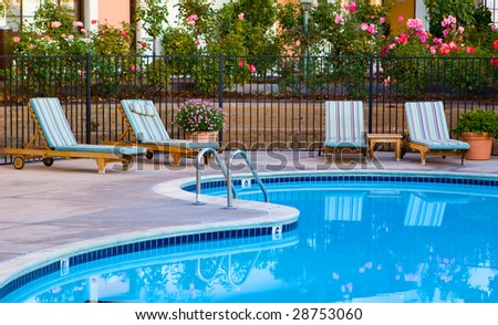 Well Landscaped Pool Area - stock photo