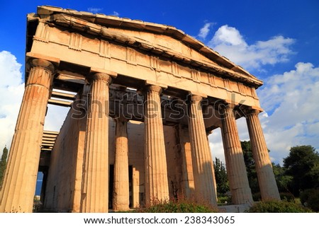 Well preserved Greek temple in Ancient Agora, Athens, Greece - stock photo