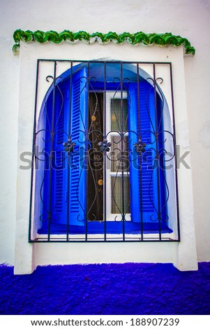 Well protected open window with blue shutters - stock photo