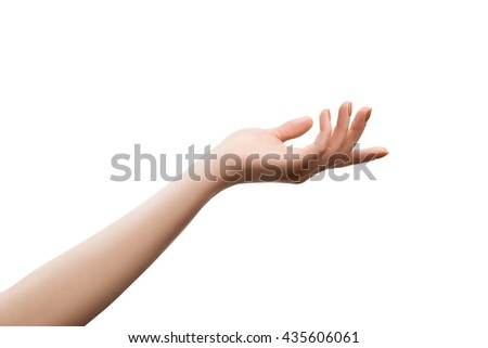 Well retouched female hand giving of getting something. Object isolated on white with clipping paths - stock photo