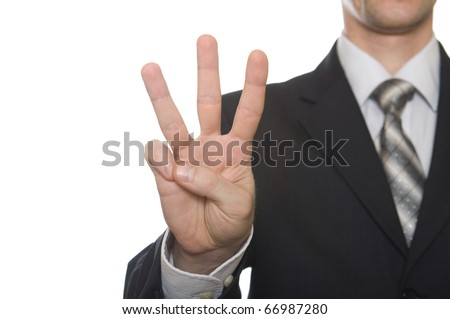 well shaped business man hand count isolated over white. three - stock photo