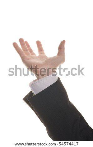 well shaped businessman hand reaching for something isolated on white - stock photo