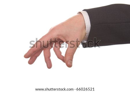 well shaped businessman's hand reaching for something isolated on white - stock photo