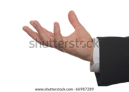 well shaped businessman's hand reaching for something isolated on white