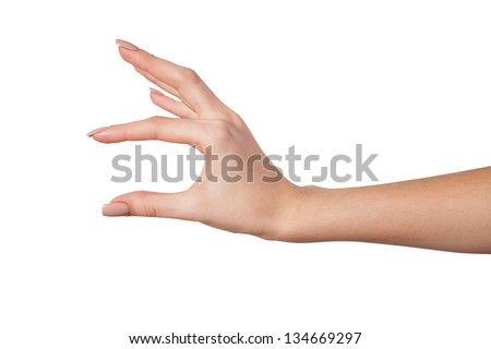 Well shaped Female hand reaching for something isolated on a white background
