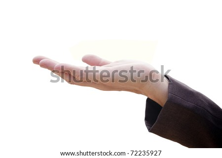 well shaped male hand and arm ,isolated on white